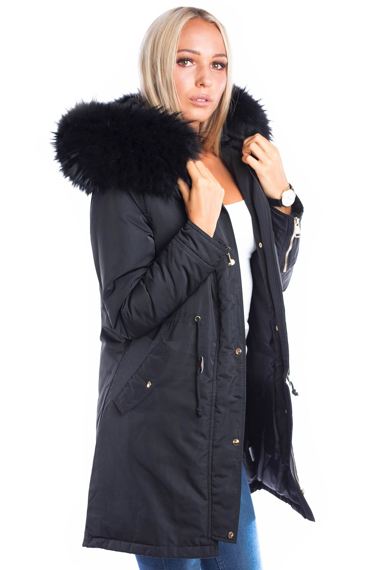 timeless design d1dc9 8463a Parka mit Fellkapuze XXL black Fashion Blogger Style