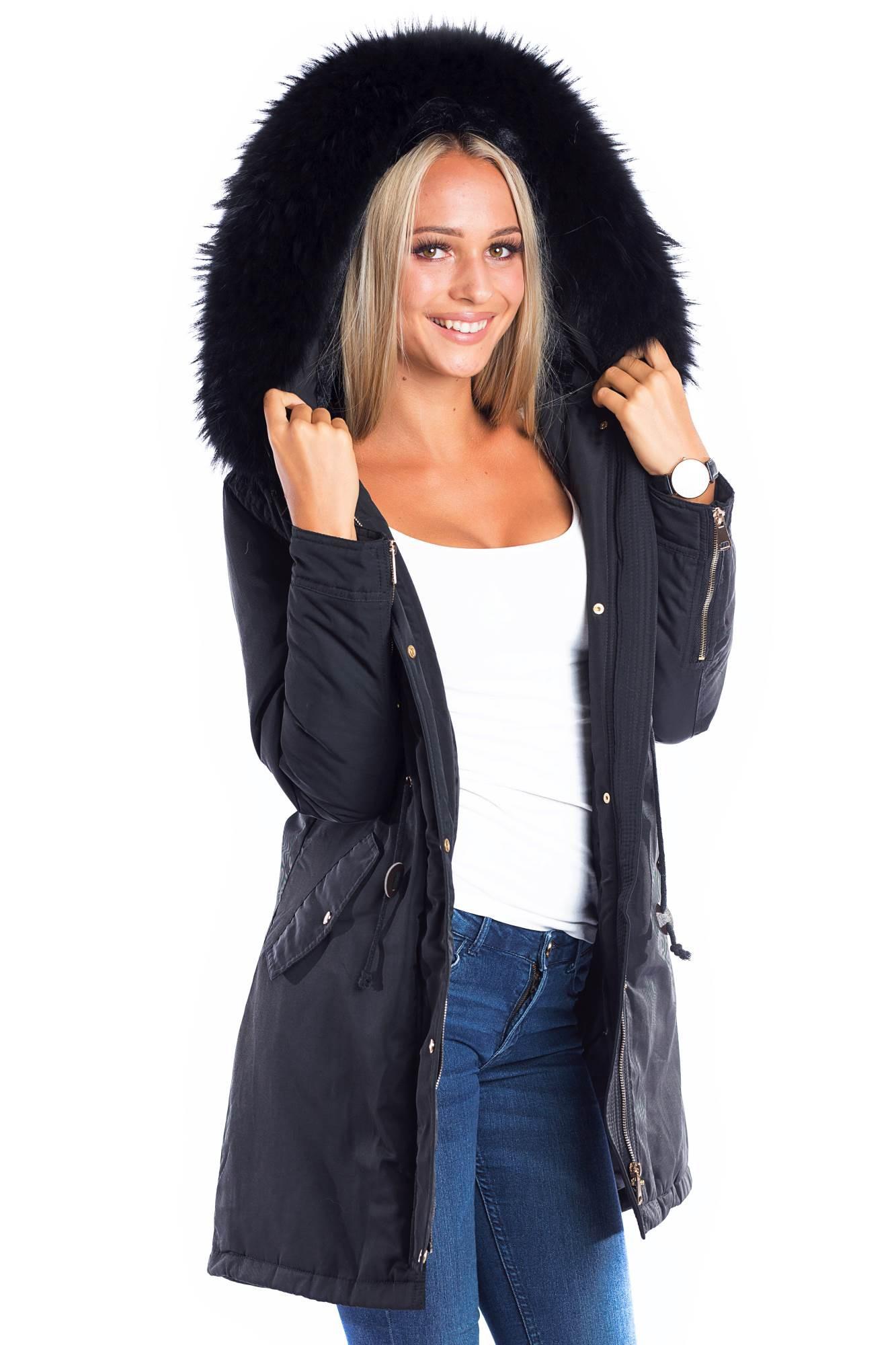 on sale 98c3a bb5fe Parka mit Fellkapuze XXL schwarz Fashion Blogger Style