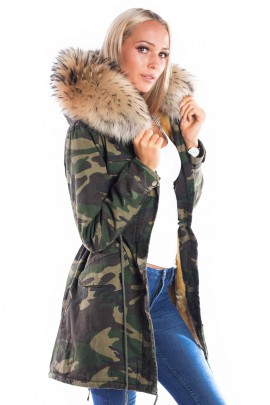 Parka Navy Look Coat Kapuze XXL brown Fashion Army Style