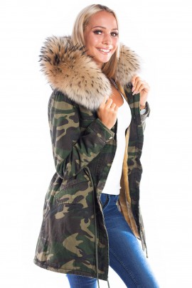 Parka Navy Look Fellkapuze XXL braun Fashion Armee Style