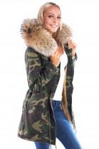 Parka Navy Look Coat Kapuze XXL brown Fashion Army Style