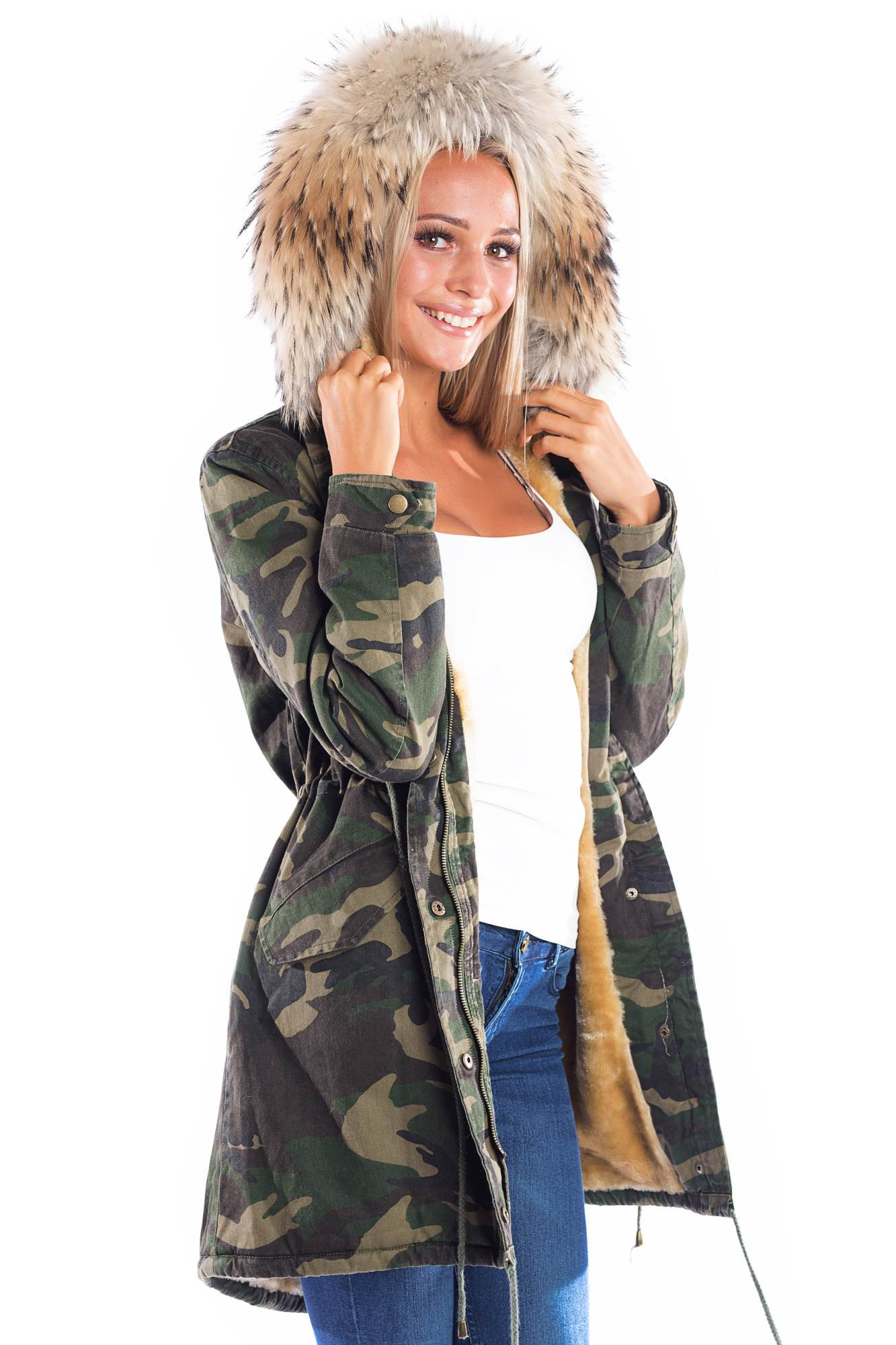 new products f3439 e9732 Parka Navy Look Coat Kapuze XXL brown Fashion Army Style