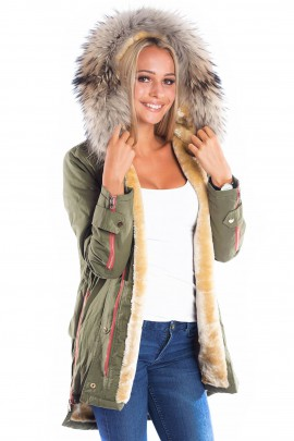 Luxury Parka Fellkapuze XXL Naturbraun Blogger Fashion Khaki