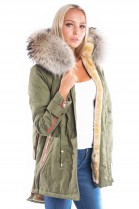 Luxury Parka Fellkapuze XXL Naturbraun Blogger Fashion Kaki