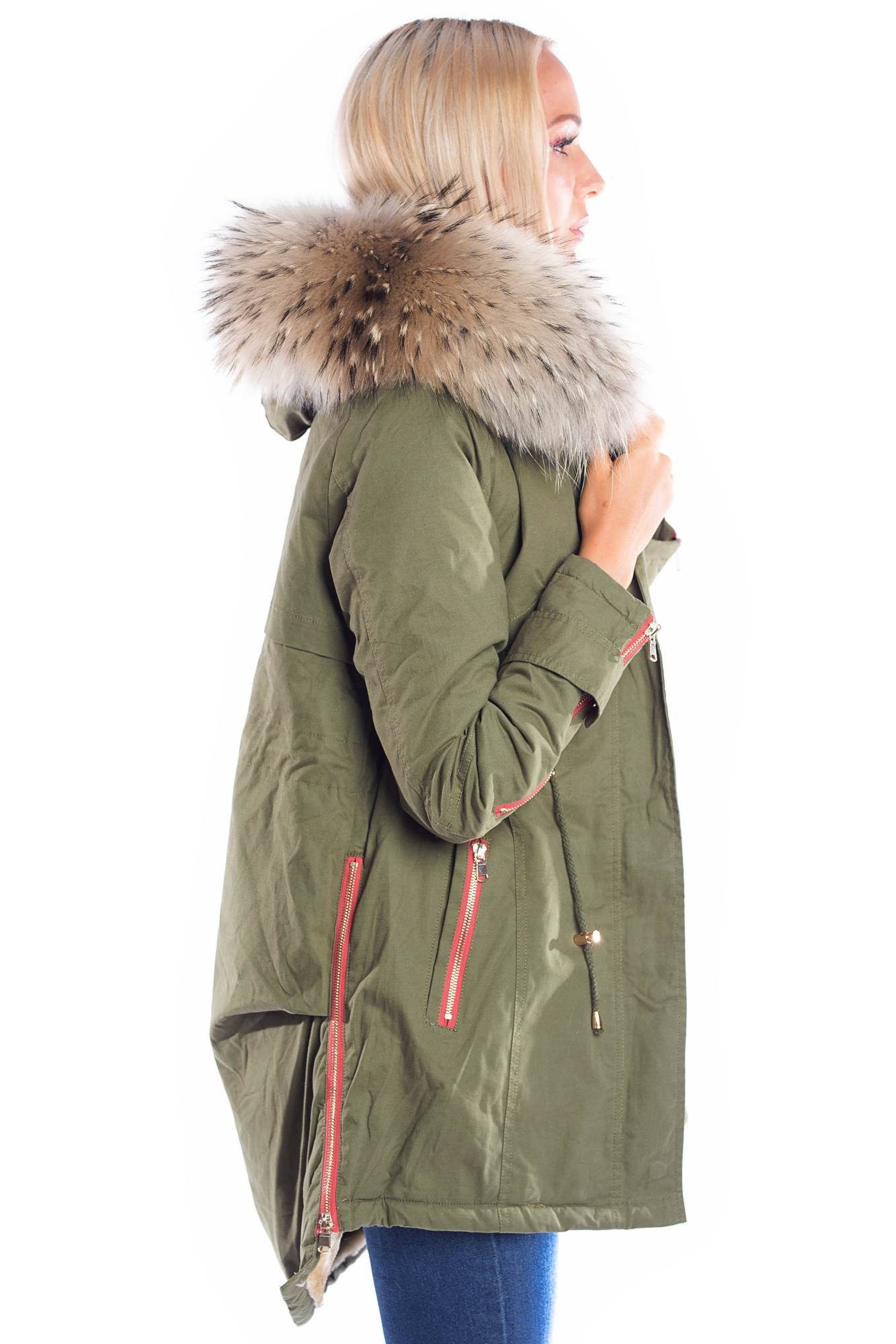 detailed look 25722 e497b Luxury Parka Fellkapuze XXL Naturbraun Blogger Fashion Kaki