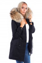 Parka black fur XXL hood natural brown fur collar fur