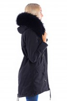 Parka Black Fur XXL Hood Black Fur Fur Fashion