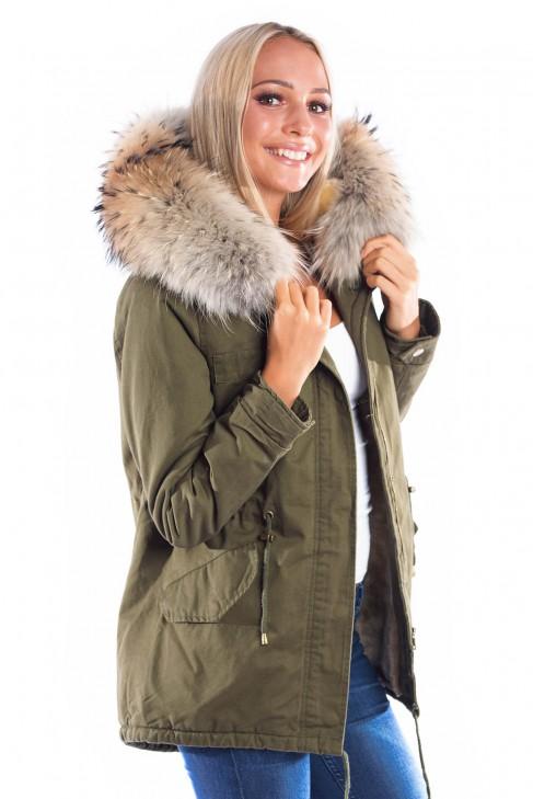save off 7d2e8 b5ce7 Parka Kaki Classic with Fashion Fellkapuze XXL luxury fur