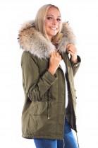 Parka Kaki Classic with Fashion Fellkapuze XXL luxury fur