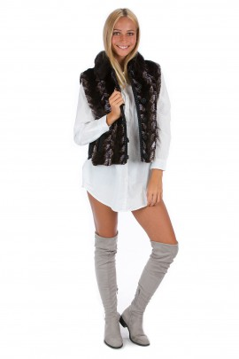 Nerz Fellweste lila braun Luxus Fashion Pelz Mode Mink Style