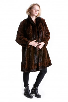 Samt Nerz Jacke braun Fashion Mink Swinger Pelz Mode