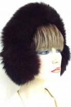 Blue fox fox fur earmuffs ear warmers - Dark Brown