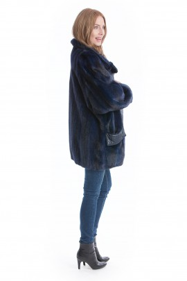 Nerz Jacke blau Pelz Mode Mink jacket blue Fell Style