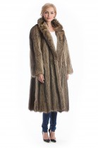 Waschbär Mantel Natur braun Fell Raccoon coat Style Fashion