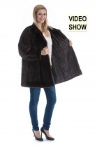 Mink with leather combines genuine Mink fur coat fur fashion