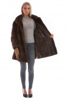 Fur fur fur jacket mink brown cross worked