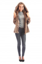 Blogger fur jacket mink with fur hood pastel Mink fur fashion