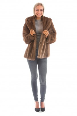 Nerz Fellkapuzenjacke echt Mink Pelz Mode Blogger Fashion