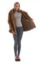 Mink jacket with fur hood pastel luxury fur