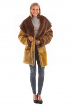 New waxed lambskin jacket yellow brown fur lamb style
