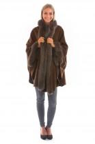 Angora Cashmere Cape mit Fuchs braun Pelz Mode echt Fell