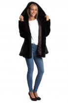 Mink jacket dark brown with fur hood Mink Fashion Fur Style