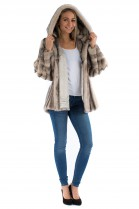 Nerz Jacke black-cross mink Kapuzen Felljacke  Pelz Mode