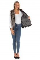 Fur coat vest Blue fox pieces gray
