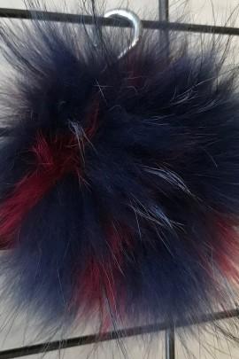 Finnraccoon Fuchs Bommel -Bicolor Himbeer Blau Echt Pelz Neu