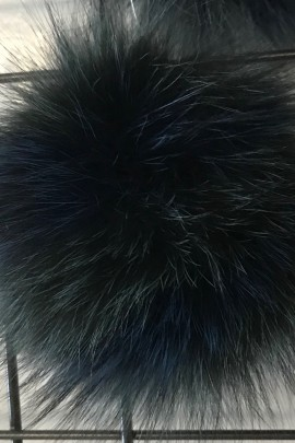 Finnraccoon Fuchs Bommel -Bicolor Grün Blau Echt Pelz Neu