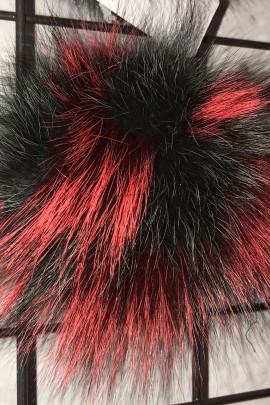 Finnraccoon Fuchs Bommel -Bicolor Grün Rot Echt Pelz Neu