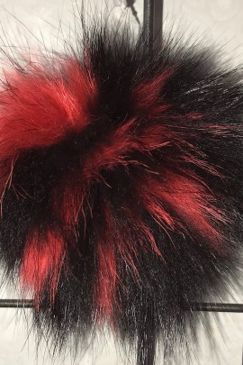 Finraccoon Pelz Bommel Fellbommel - Bicolor schwarz-rot