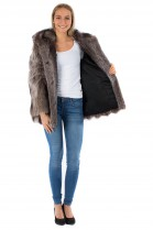 Fur coat jacket raccoon brown fur jacket