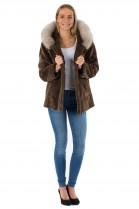 Fur coat jacket mink brown fur jacket with blue fox fur