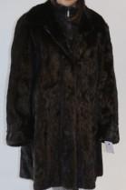 Pelz- Fell  Nerz  Mantel  schwarz-braun