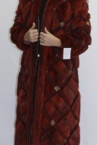 Fur coat reversible coat red with leather