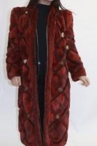 Pelz Fell  Wende Mantel rot mit Leder Einzigartig