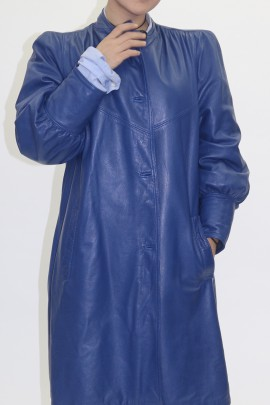 Pelz Fell Wende Jacke Swinger  Chinchilla blau mit Leder