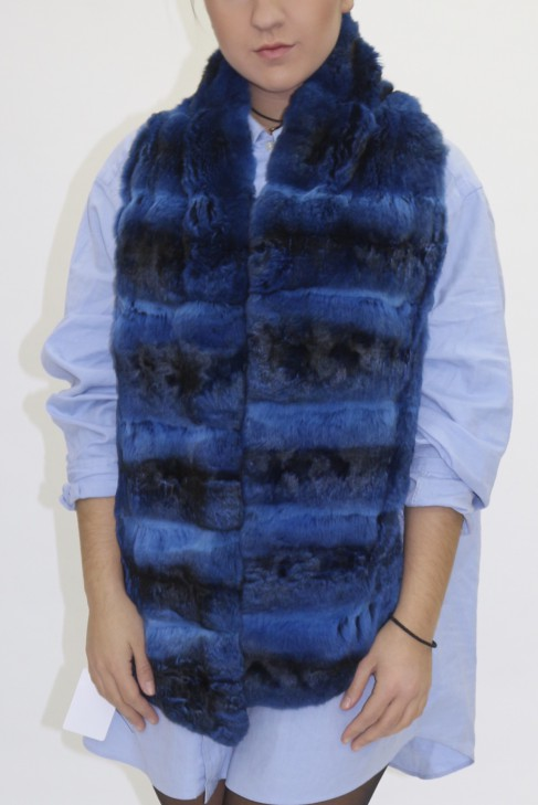 Pelz Fell Schal Chinchilla blau mit Leder gefüttert