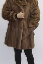 Fur coat jacket mink pastel attached
