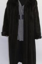 Fur coat mink dark brown