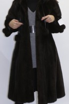 Fur coat mink brown with pompom