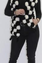 Pelz Fell  Kanin Bommel Schal schwarz-weiß