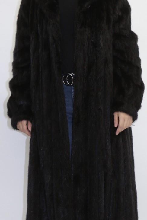 Pelz  - Fell  Mantel  Nerz schwarz mit Leder