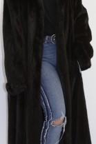 Fur coat mink deep brown