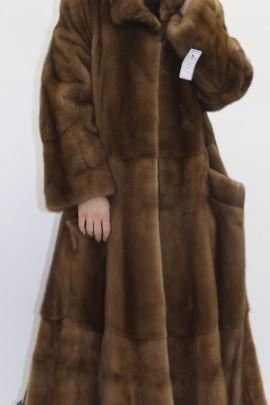 Pelz  - Fell  Mantel  Nerz beige aufgesetzt