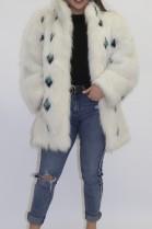 Web fur jacket white blue