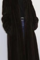 Plucked fur coat mink brown