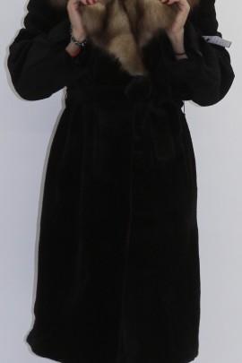 Pelz - Fell  Mantel Nutria geschoren mit Steinmarder Kragen