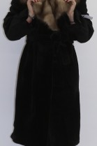 Fur - fur coat Nutria sheared with stone marten collar